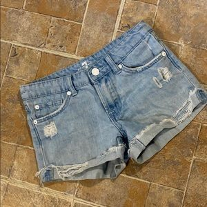 7 For All Mankind distressed jean shorts size 10